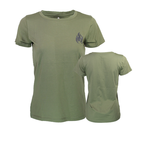 Women's Fuego Olive Green Sports Tee