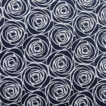 Navy Background with White Floral Outline ~ White on Navy Blue