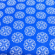 Royal Blue background with Circular Flowers ~ White on Royal Blue