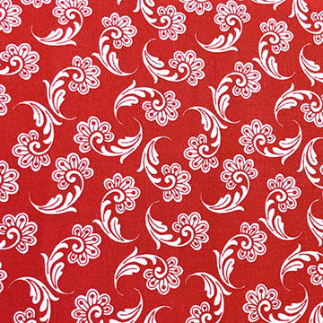 Red background with White Fan Floral ~ White on Red