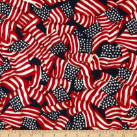 Made in the USA: Waving Flags Red, White, Blue (Half Yard)