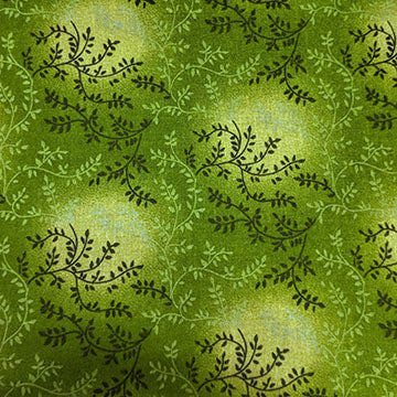 Swirly Leafy Florals ~ Dark Green on Light Green Ombre