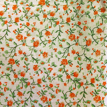 Viney Florals ~ Orange on White