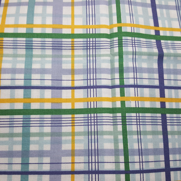 "White Plaid with green, yellow, blue lines ~ Remnant 18""x22"""