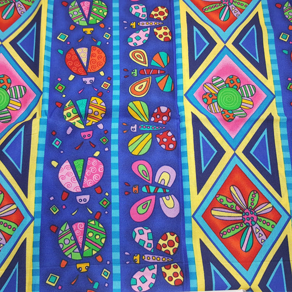 "Repeating Stripe, ladybugs and geometric flowers ~ Remnant 18""x22"""