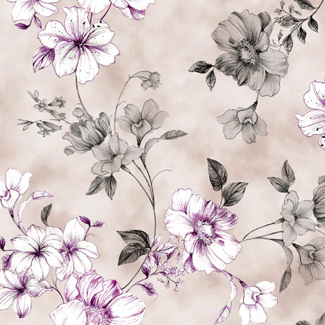 Juliette Spaced Floral Vine Gray