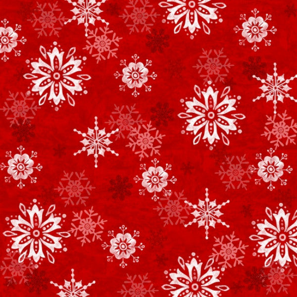 Winter Joy Snowflakes Tossed in Red