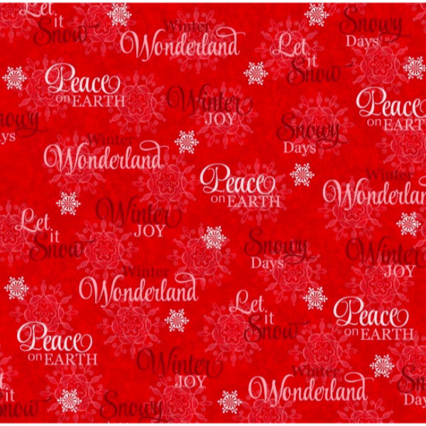 Winter Joy Christmas Holiday Words in Blue