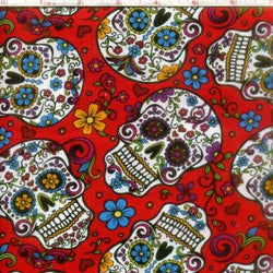 Folkloric Skulls in Red
