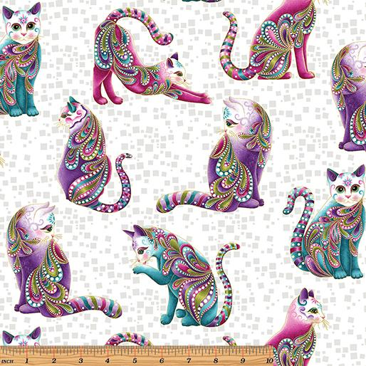 "CAT-I-TUDE ~ Artist-O-Cats White/Multi ~ Remnant 9""x44"""