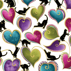 CAT-I-TUDE ~ Hearts and Cats White/Multi