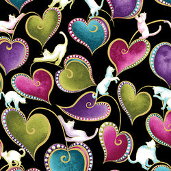 CAT-I-TUDE ~ Hearts and Cats Black/Multi
