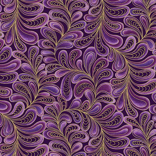 "CAT-I-TUDE ~ Feather Frolic Purple ~ Remnant 30""x44"""