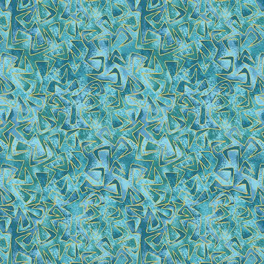 "CAT-I-TUDE ~ Triangular Motion Teal ~ Remnant 18""x22"""