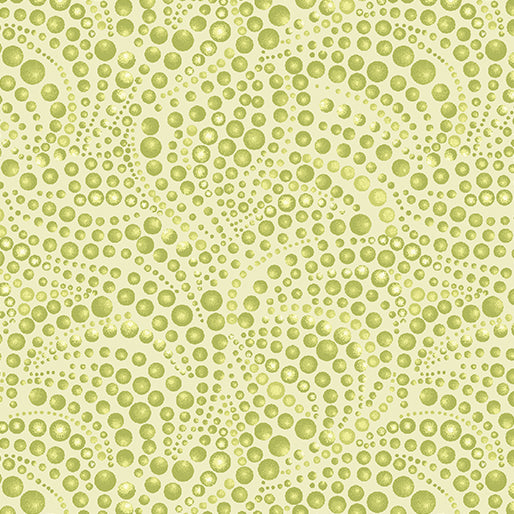 CAT-I-TUDE ~ Beaded Swirls Tonal Lt Green