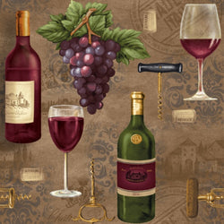 Vineyard Valley ~ Bottles, Wine Glasses, Grapes