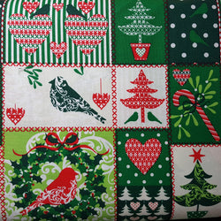 Christmas Patchwork with Trees, Birds, Candycanes, and Hearts