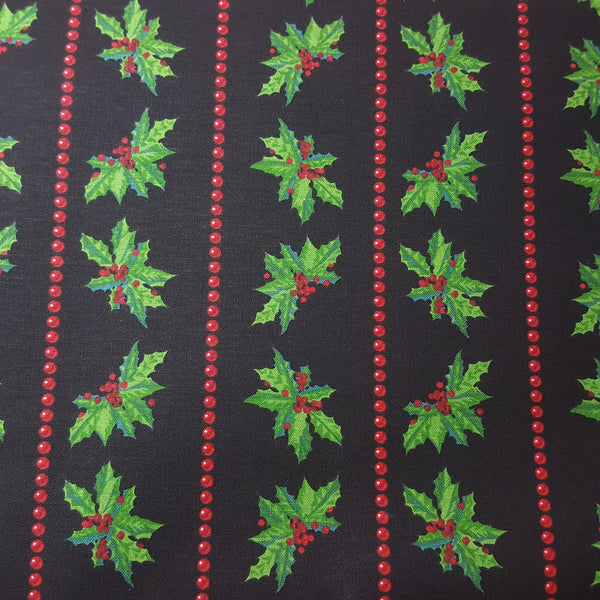 Christmas Black Holly Stripes