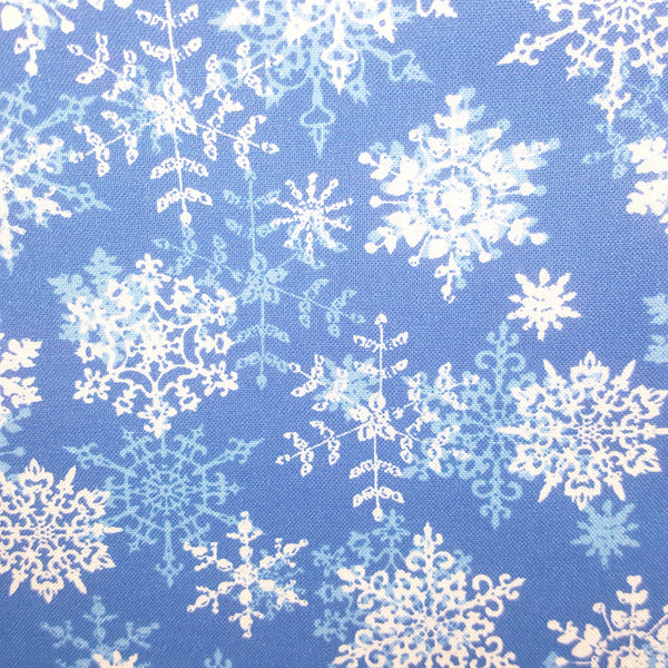 "Blue with White Snowflakes ~ Remnant 22""x44"""