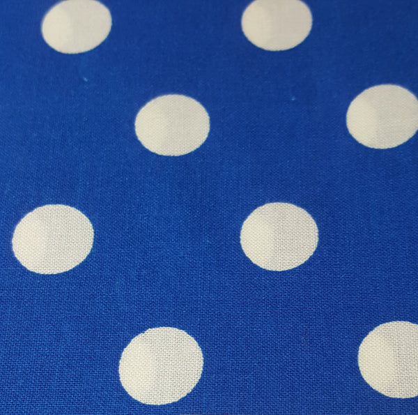 "Royal Blue with 1/2"" White Polka Dots"