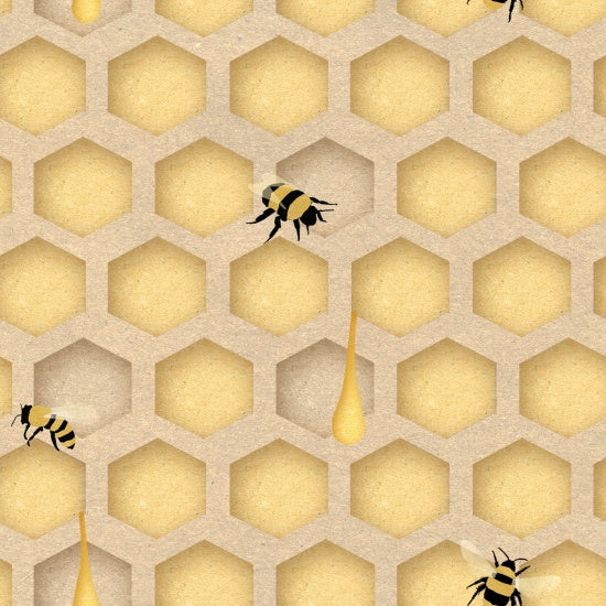Save Our Bees Bees in Honeycomb Yellow