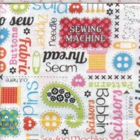 "Remnant 32"" x44"" ~ Made with Love Sewing Words White"