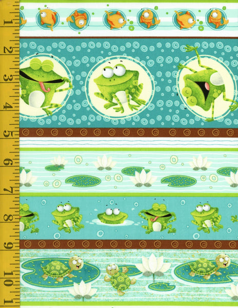 "Frogland Friends Frog Border Stripe Aqua ~ Remnant 11""x44"""