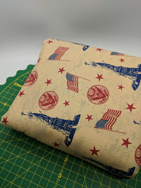 United We Stand: Lady Liberty Flags and Stars (Half Yard)
