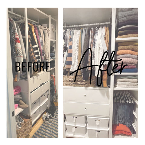 Before and after closet cleanout