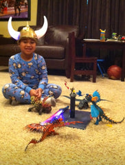 Jeremiah with his How to Train A Dragon Toys