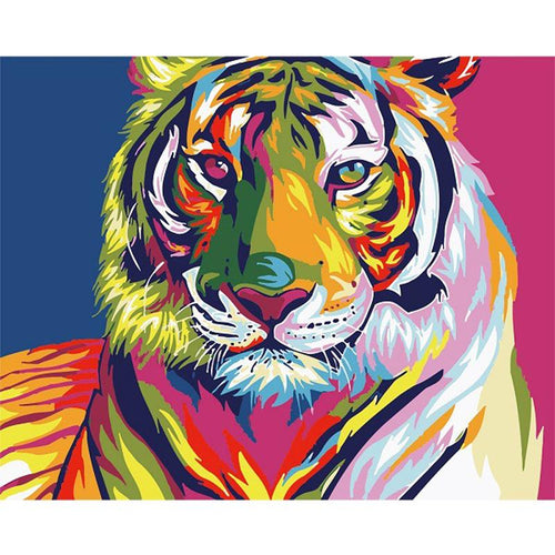 multicolor tiger adult diy paint by numbers kit
