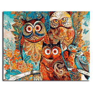 bohemian owls adult diy paint by numbers kit