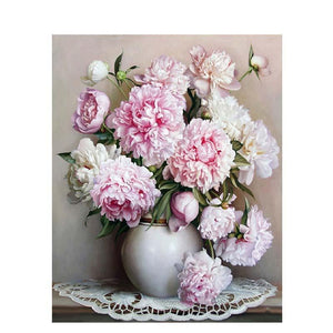 pink flower bouquet adult diy paint by numbers kit