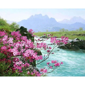 river landscape adult diy paint by numbers kit