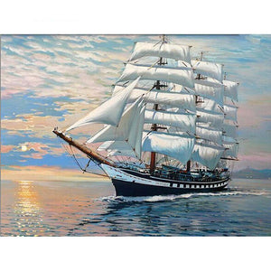 tall sailing ship at dusk adult diy paint by numbers kit