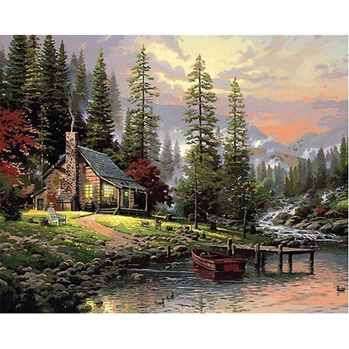 cabin in the woods adult diy paint by numbers kit