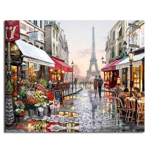 paris street adult diy paint by numbers kit
