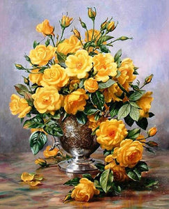 yellow flowers in a vase adult diy paint by numbers kit