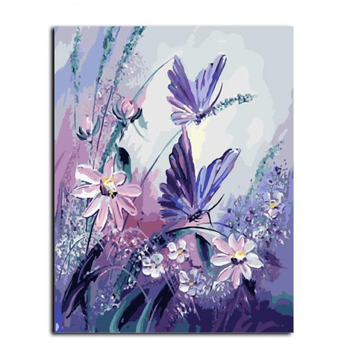 butterflies resting on flowers adult diy paint by numbers kit