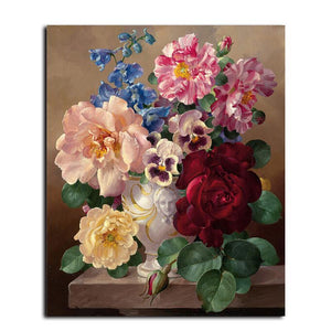 flower bouquet in a vase adult diy paint by numbers kit