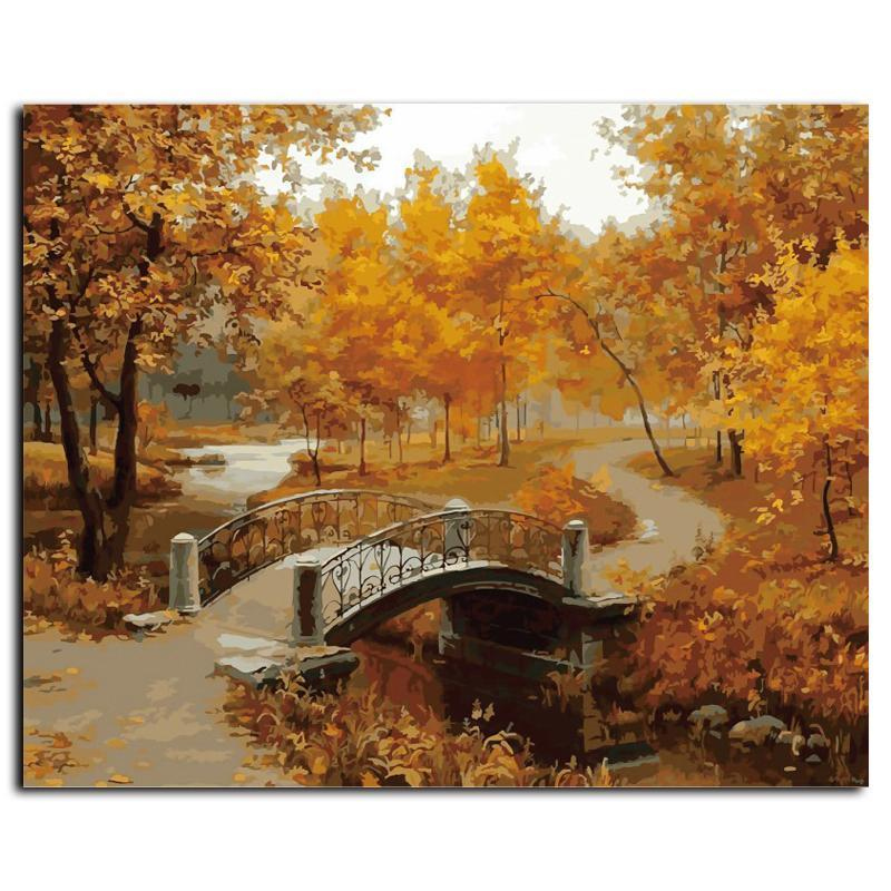 autumn forrest and bridge adult diy paint by numbers kit