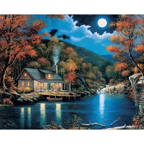 cabin in the woods at night adult diy paint by numbers kit
