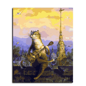 cartoon cat playing guitar adult diy paint by numbers kit