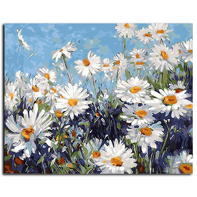 field of daisies adult diy paint by numbers kit
