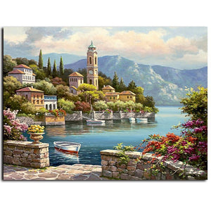 town on the sea adult diy paint by numbers kit