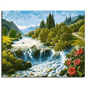 running river landscape adult diy paint by numbers kit