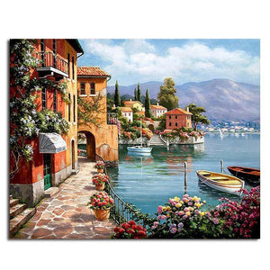 seaside town adult diy paint by numbers kit