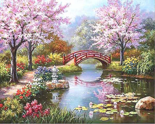 peaceful gardens adult diy paint by numbers kit