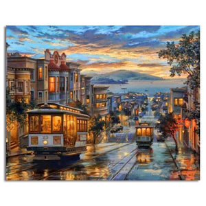 san Francisco landscape adult diy paint by numbers kit