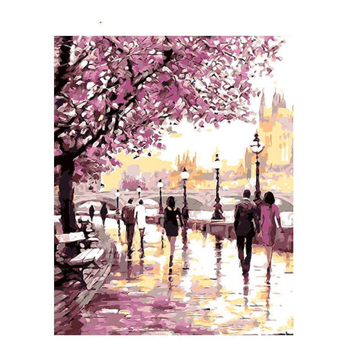 cherry blossoms road adult diy paint by numbers kit